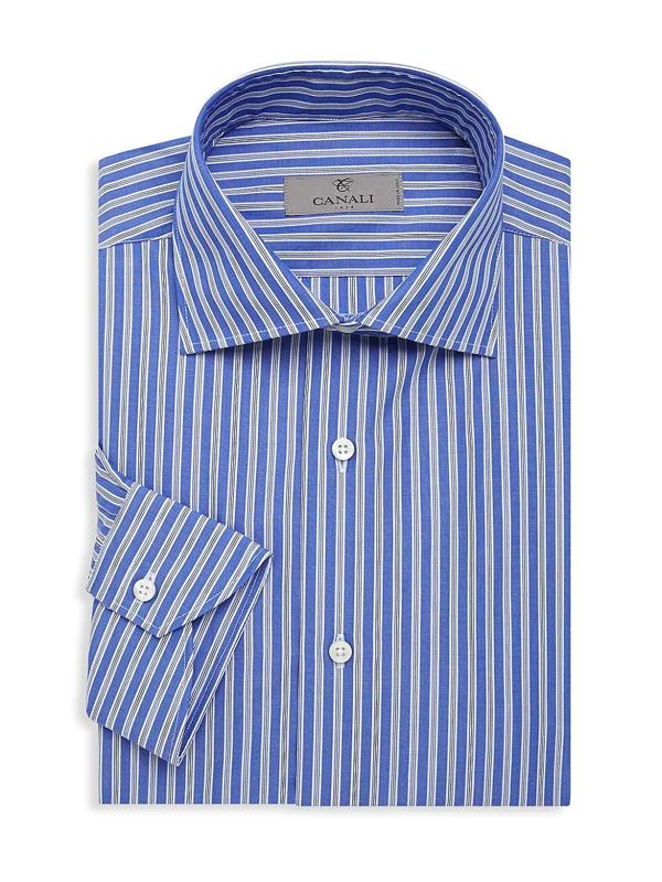 Canali Men's Striped Dress Shirt In Blue