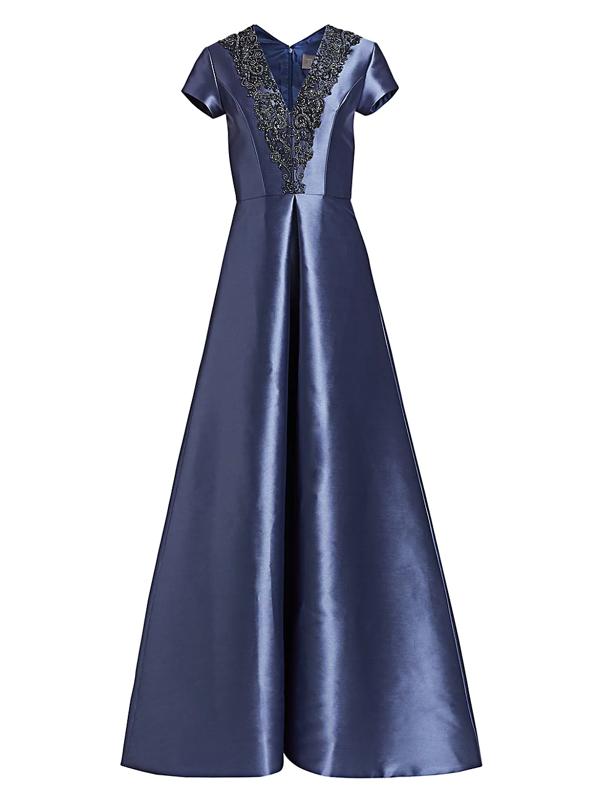 Theia Women's Beaded V-neck Short-sleeve Gown In Slate