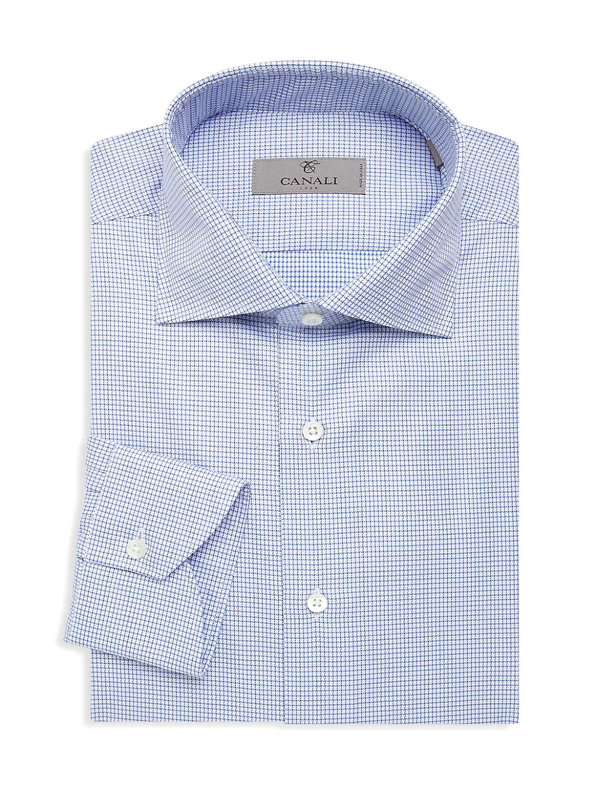 Canali Men's Check Cotton Dress Shirt In Blue