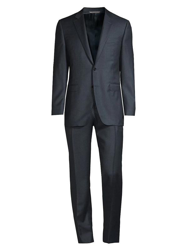 Canali Men's Modern-fit Micro Print Wool Suit In Teal