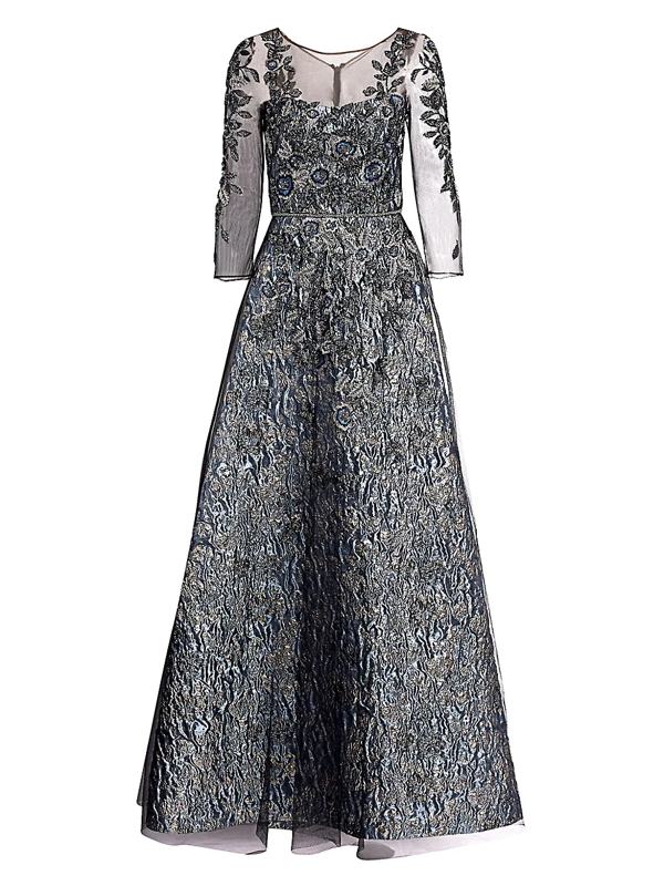 Theia Women's Floral Beaded Illusion Gown In Slate Silver