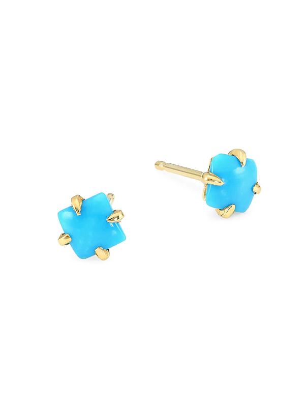 Ila Women's Primary Princess 14k Yellow Gold Turquoise Earrings