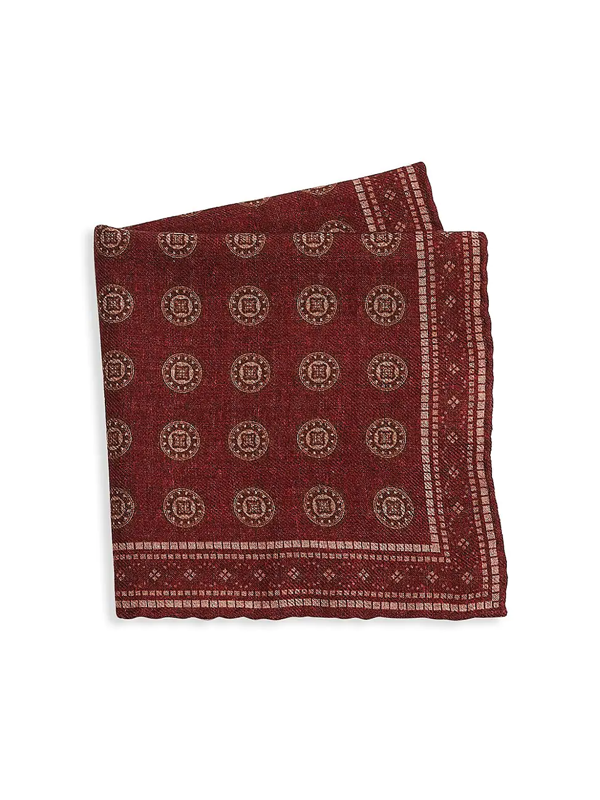 Brunello Cucinelli Men's Tapestry Print Wool Pocket Square In Red