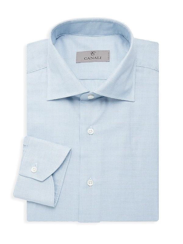 Canali Men's Modern-fit Grid Dress Shirt In Teal
