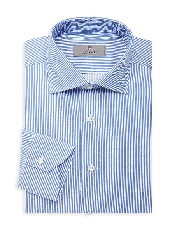 Canali Men's Modern-fit Stripe Dress Shirt In Navy