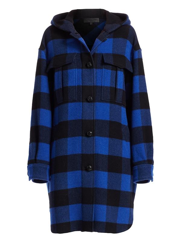 Rag & Bone Women's Beck Buffalo Check Hooded Coat In Black Blue Check