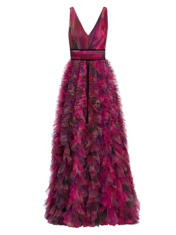 Marchesa Notte Women's V-neck Printed Textured Tulle Gown In Plum