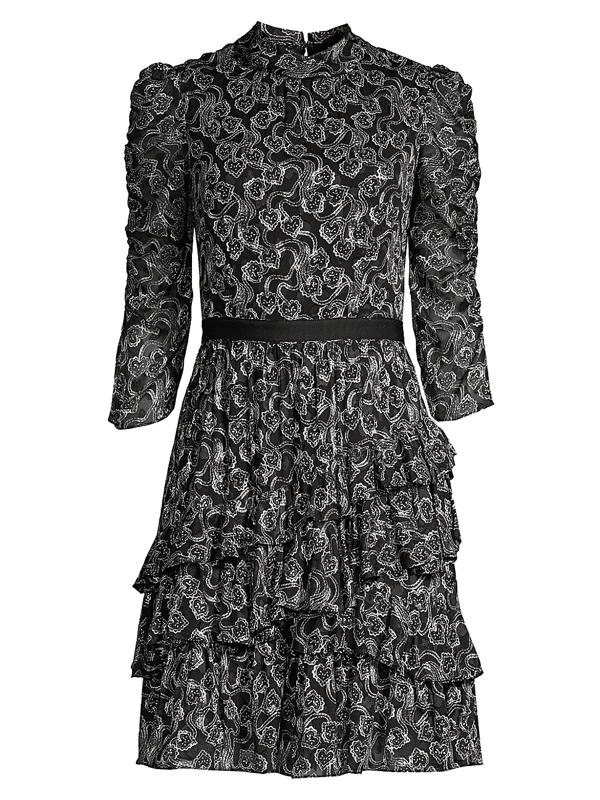 Rebecca Taylor Women's Ceclia Silk-blend Lace Dress In Black Combo