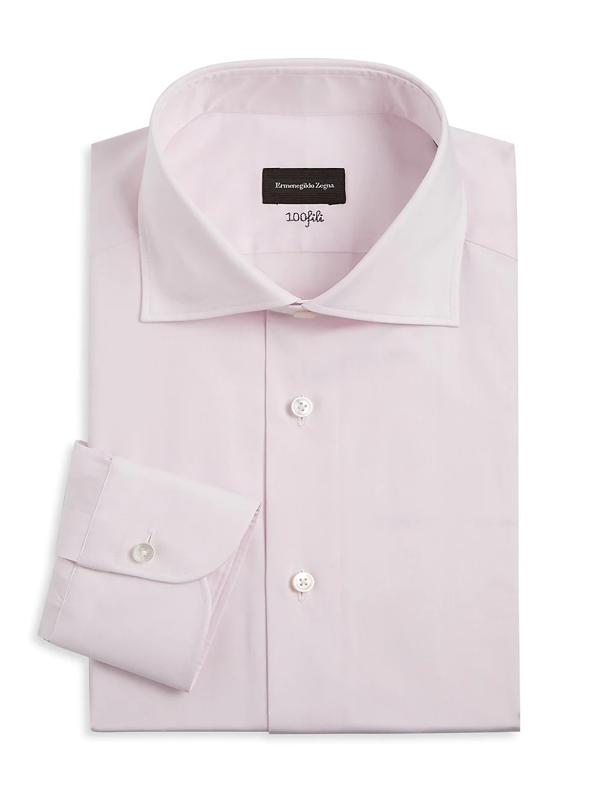 Ermenegildo Zegna Men's Cotton Dress Shirt In Pink