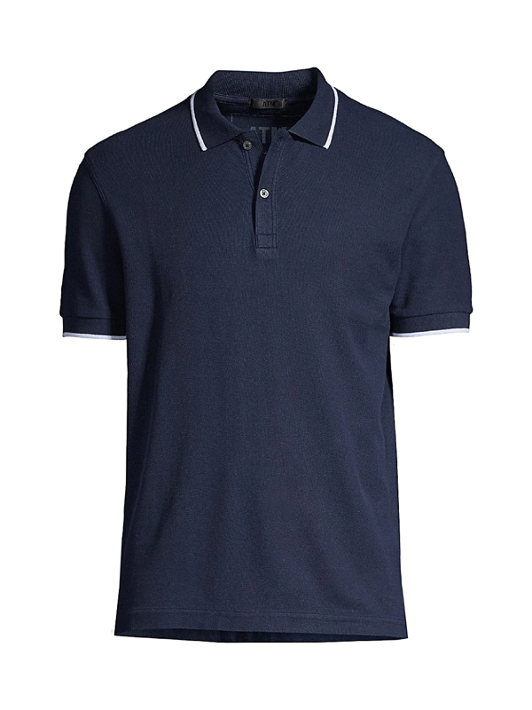 Atm Anthony Thomas Melillo Men's Contrast Tip Cotton Pique Polo In Midnight