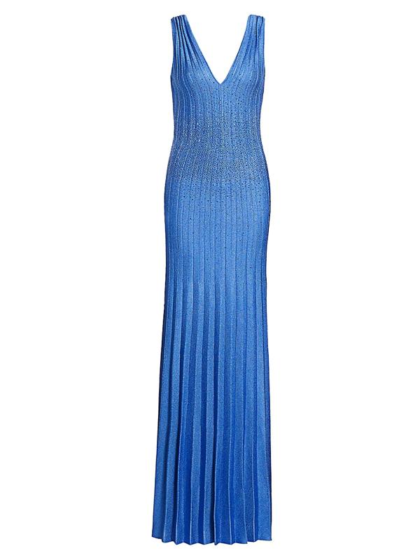 St. John Women's Beaded Plissé Knit Sequin Gown In Oasis