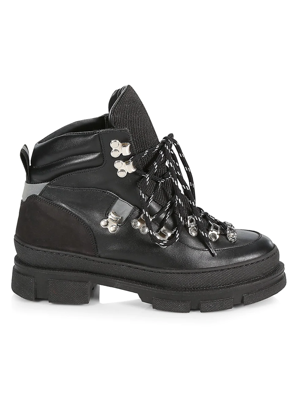 Ganni Women's Leather Hiking Boots In Black