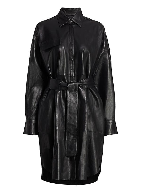Remain Birger Christensen Women's Bologna Leather Shirtdress In Black