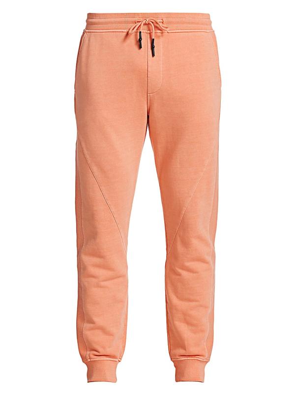 Madison Supply Men's Texture Blocked Fleece Drawstring Joggers In Orange