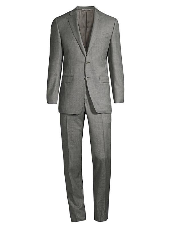 Canali Men's Micro-pattern Wool Suit In Grey