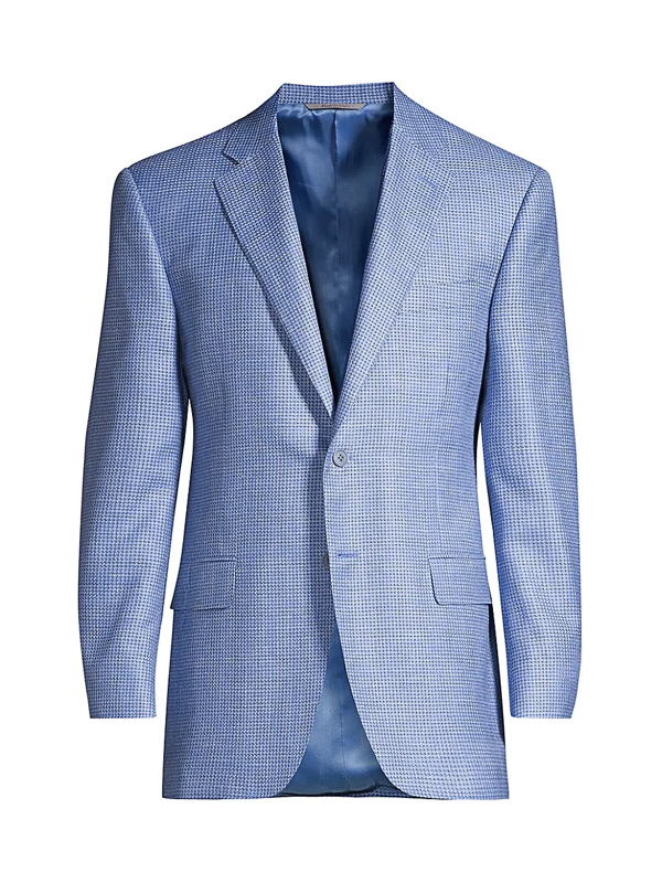 Canali Men's Houndstooth Woven Wool Sport Coat In Blue