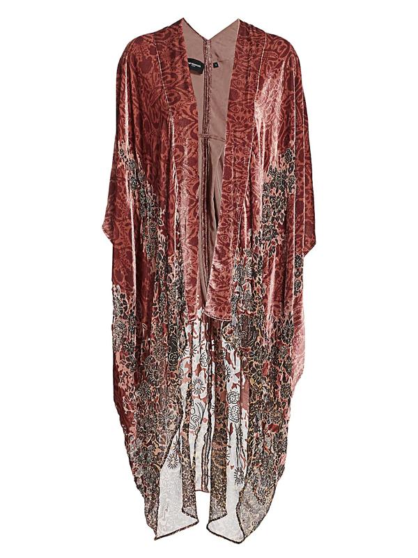 The Kooples Women's Velvet Burnout Kimono In Pink