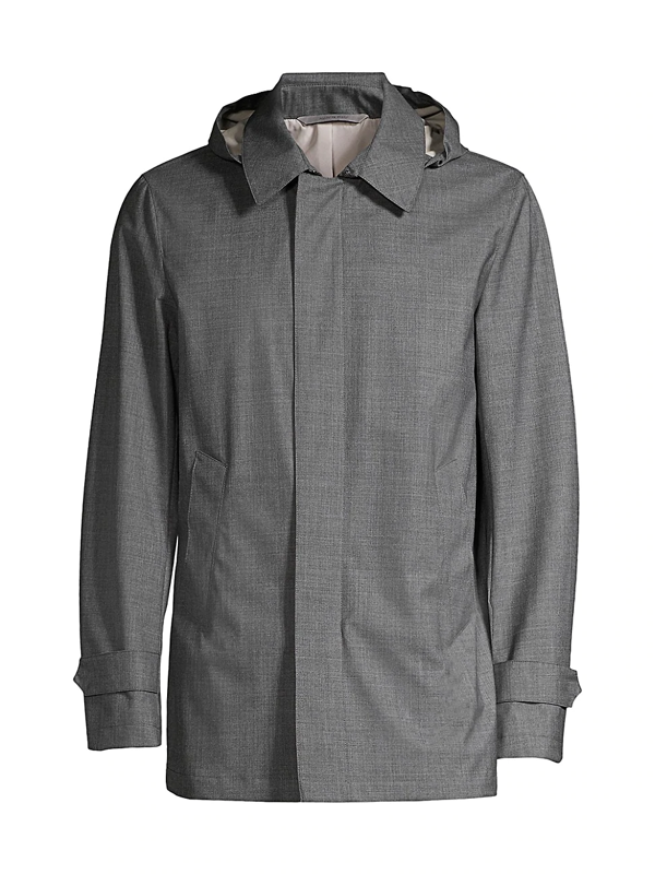 Canali Men's Modern-fit Hooded Wool Rain Jacket In Grey