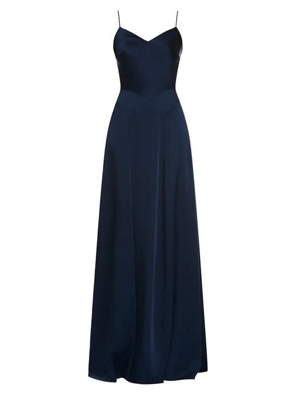 Theia Women's Crepe Back Satin Slip Gown In Midnight