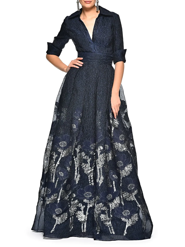 Theia Women's Floral Organza Fil Coupe Shirt Ball Gown In Navy Silver