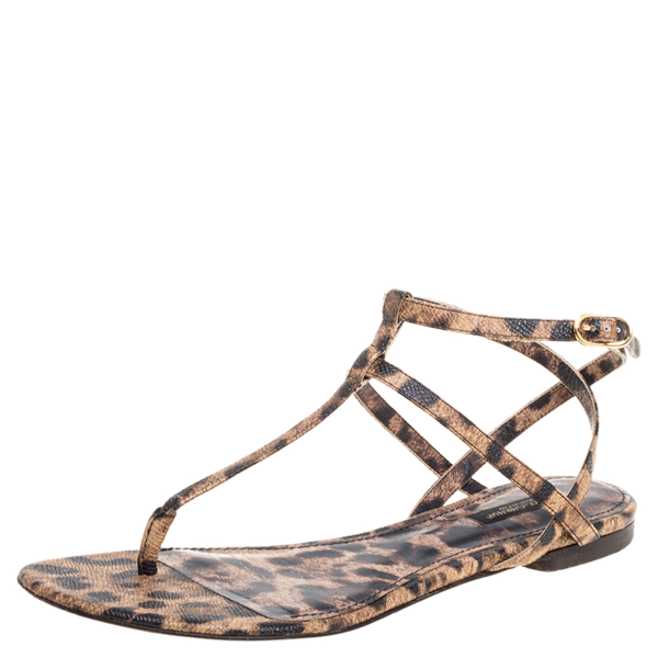 Pre-owned Dolce & Gabbana Leopard Print Leather T Strap Thong Flats Size 39 In Brown