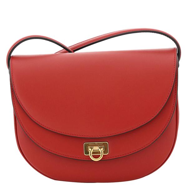 Pre-owned Salvatore Ferragamo Red Leather Gancini Crossbody Bag