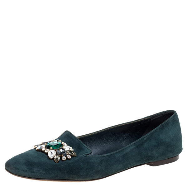 Pre-owned Dolce & Gabbana Green Suede Embellished Slip On Flats Size 39