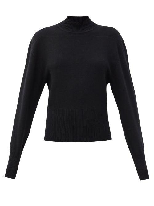Proenza Schouler Panelled High-neck Cashmere-blend Sweater In Black