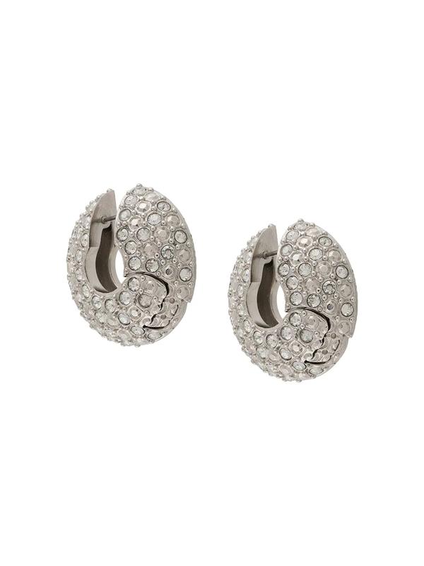 Fenty Crystal Embellished Hinged Hoop Earrings In Silver