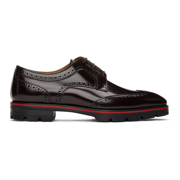 Christian Louboutin Men's Laurlaf Leather Wing-tip Red Sole Oxfords In R275 Oxbld