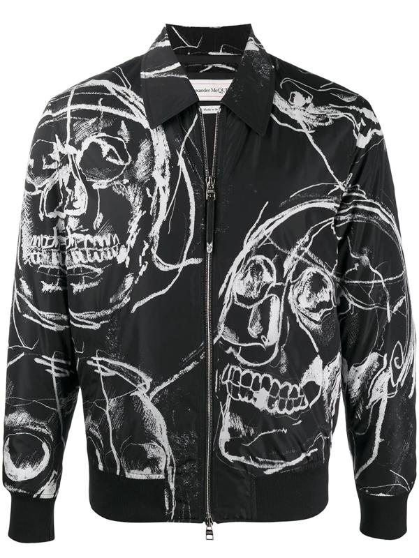 Alexander Mcqueen Skull Print Zipped Shirt Jacket In Black