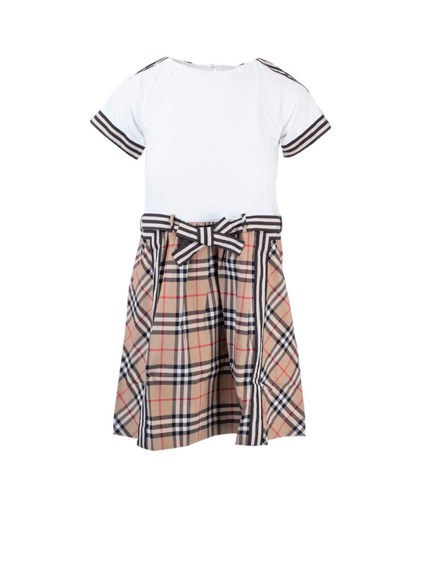 Burberry Kids' Dress With Vintage Check Pattern Skirt In White