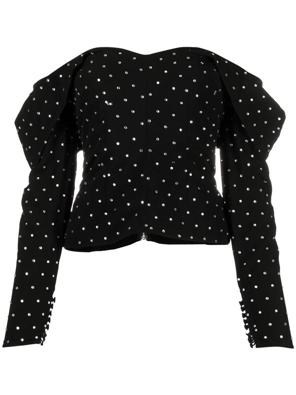 Self-portrait Off-the-shoulder Crystal-embellished Crepe Top In Black