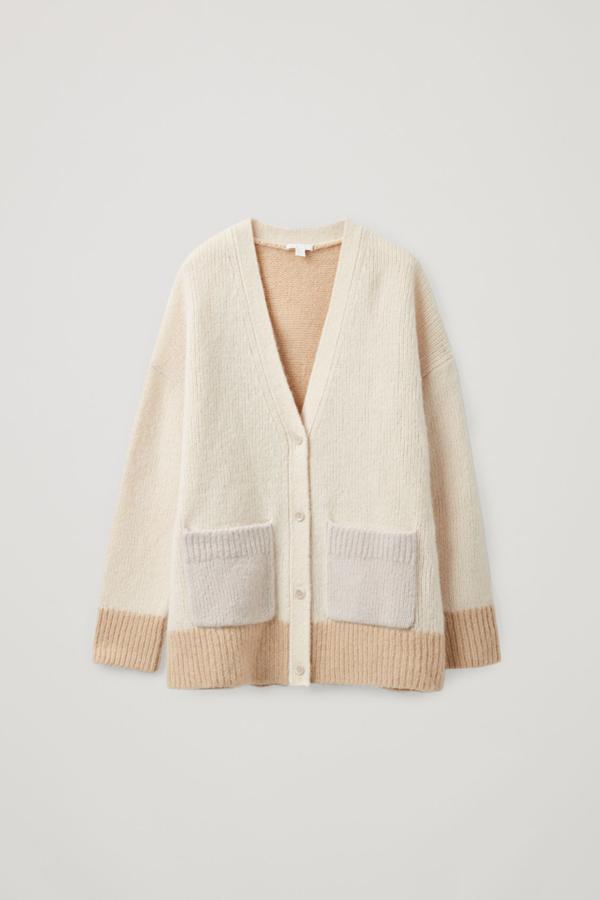 Cos Brushed Alpaca-wool Mix Cardigan In Beige