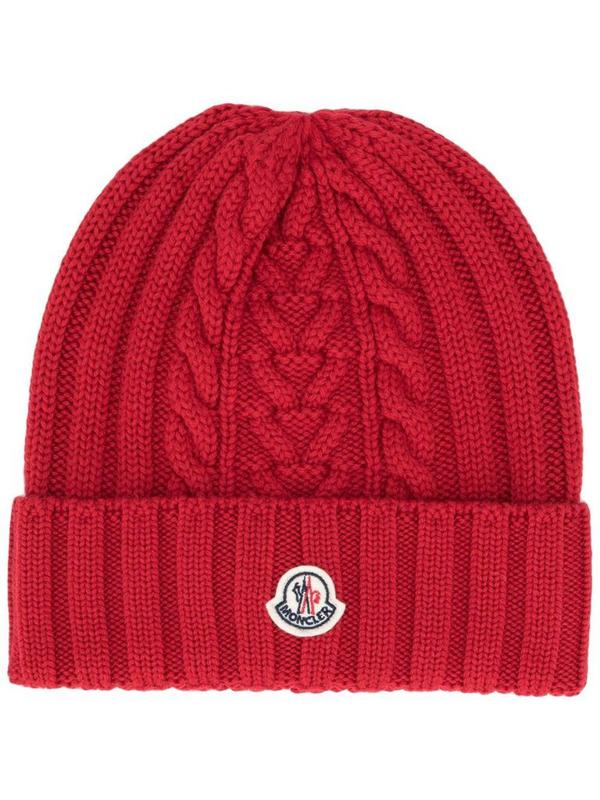 Moncler Women's Burgundy Wool Hat