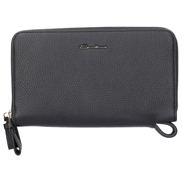 Santoni Women Wallet A1904 Tumbled Calfskin Logo Black