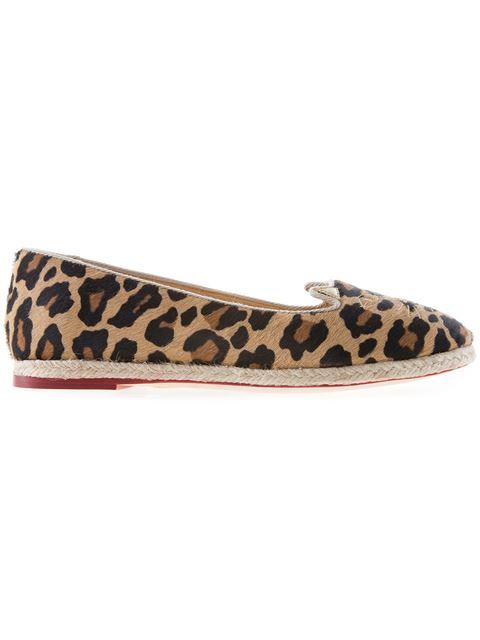 Charlotte Olympia Capri Cats Leopard-print Calf Hair Espadrille Flats In Brown And Black Leopard-print