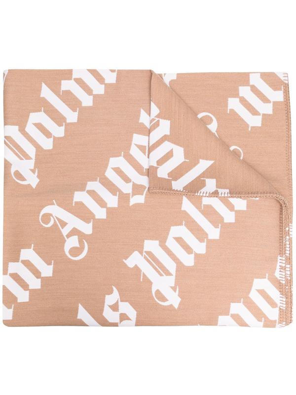 Palm Angels Logo-motif Whipstitch-detail Blanket In Neutrals