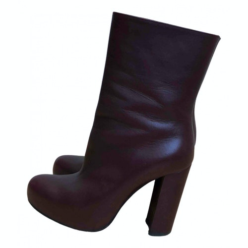Pre-owned Theory Burgundy Leather Ankle Boots