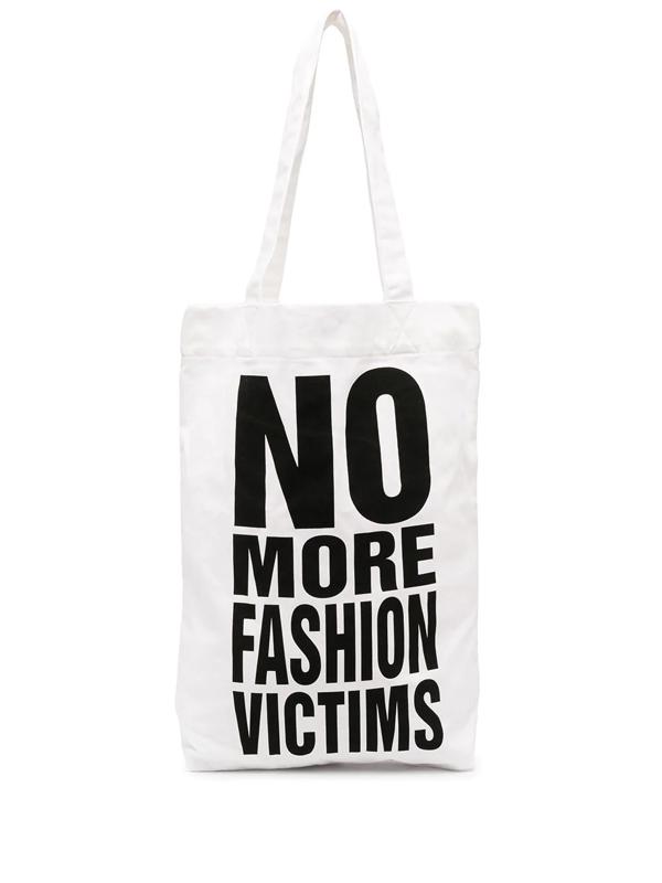 Katharine Hamnett No More Fashion Victims Tote Bag In White