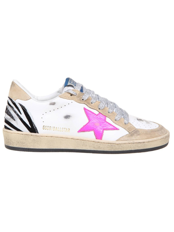 Golden Goose Ball Star White/pink Leather Sneakers