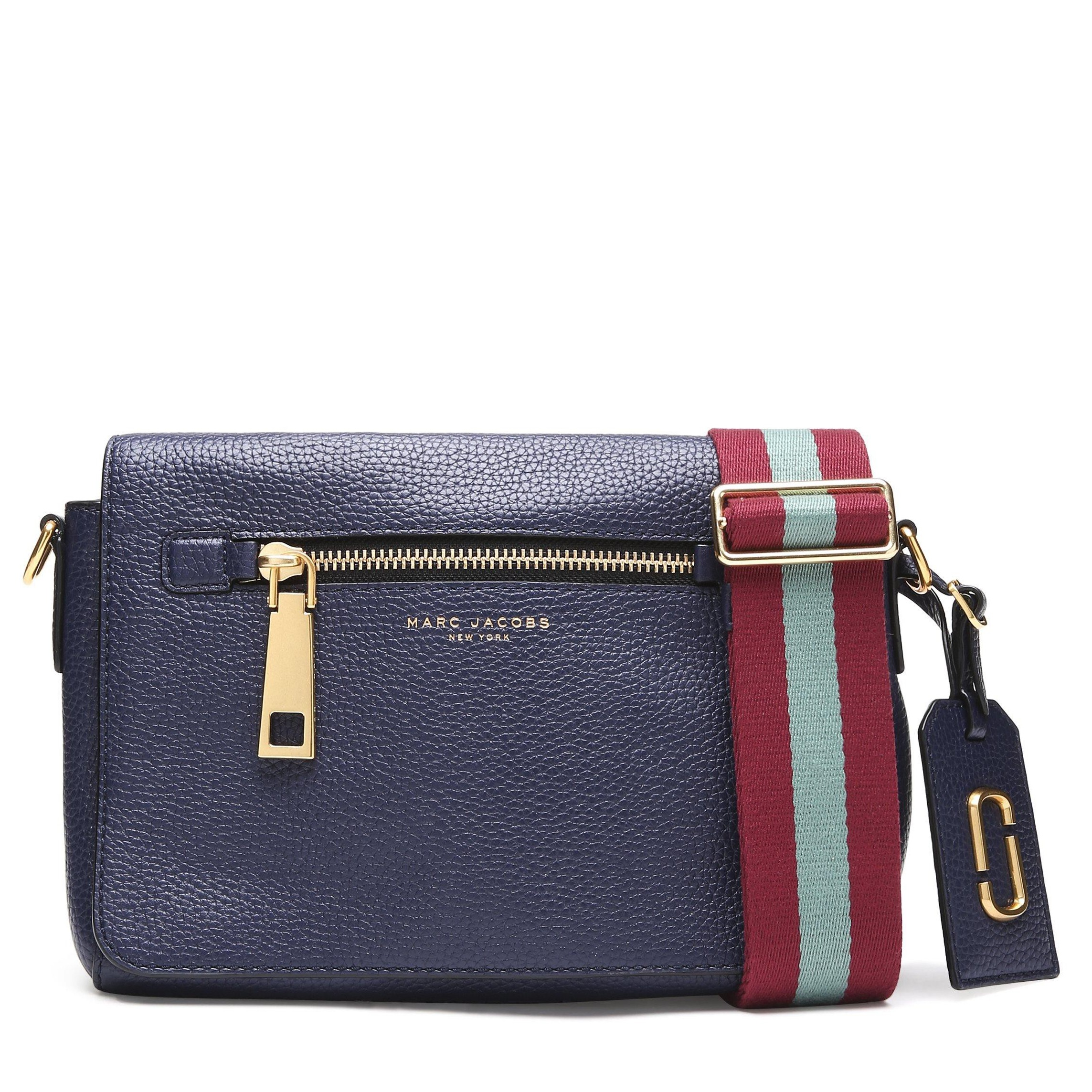 Gotham Small Leather Shoulder Bag In Midnight Blue With Vino Multi Webbing Strap