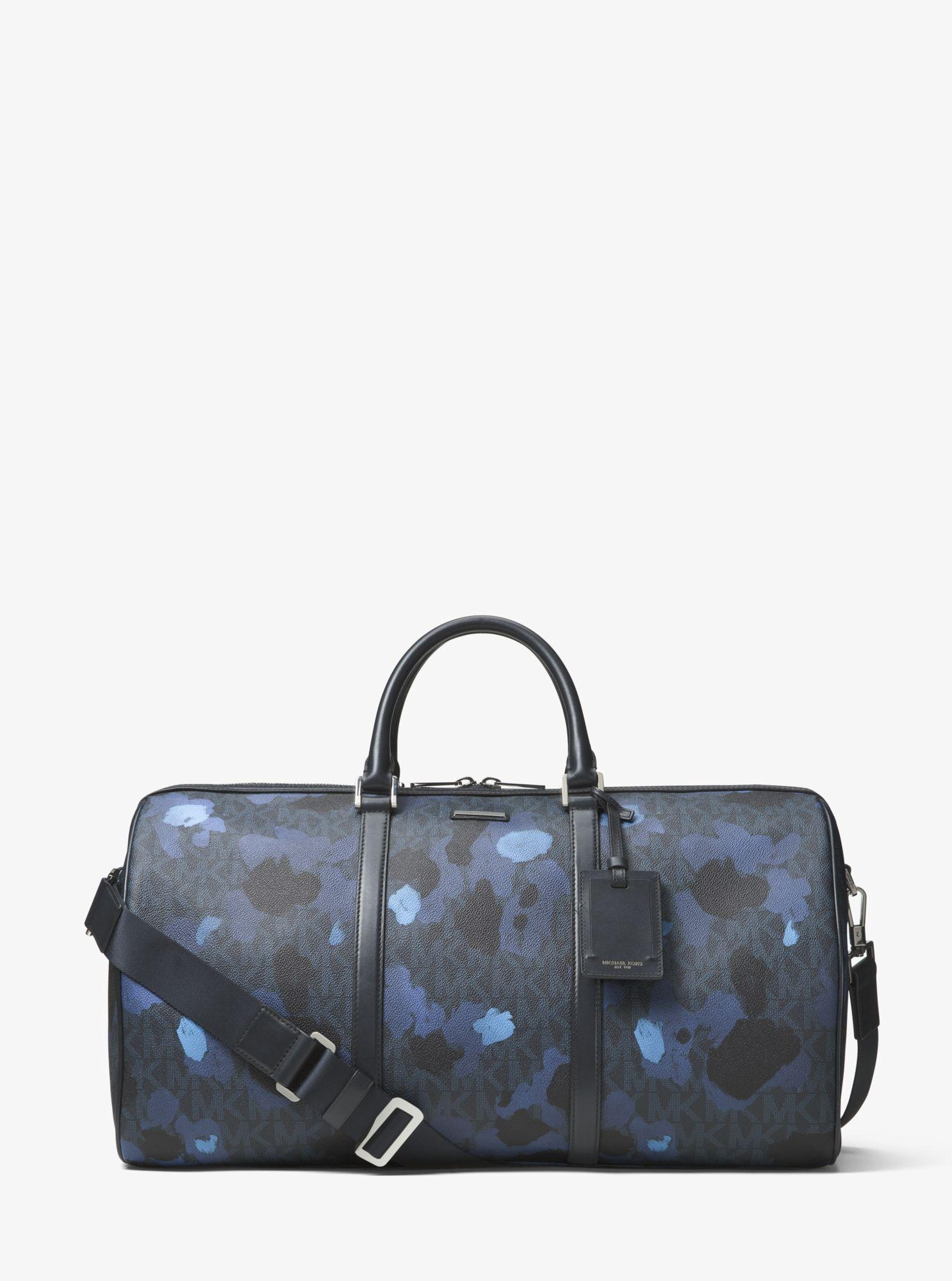54a8282b988bb6 Michael Kors Jet Set Painterly Camo Large Duffel Bag In Midnight ...