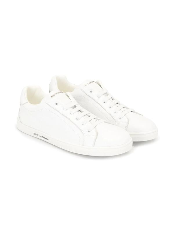 Dolce & Gabbana Teen Logo Plaque Sneakers In White
