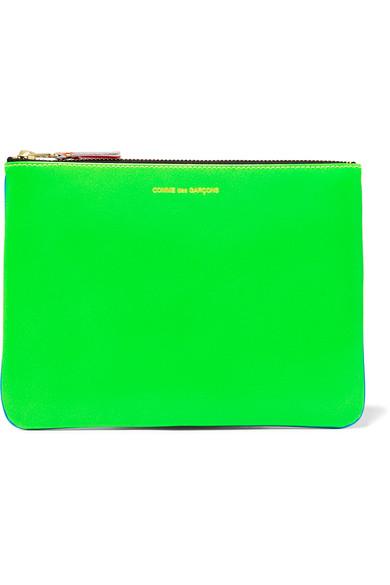 Comme Des GarÇons Neon Leather Pouch In Blue & Green