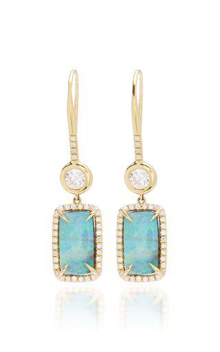 Octavia Elizabeth Women's 18k Gold Opal Diamond Drop Earrings In Blue