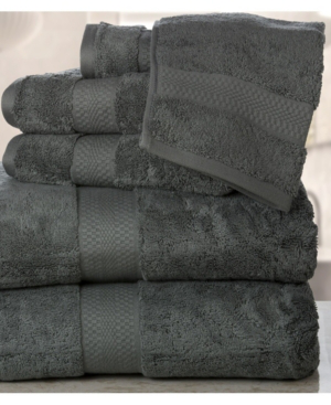 Addy Home Fashions Double Stitched Hem Plush Towel Set - 6 Piece Bedding In Gray