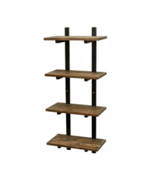 """Alaterre Furniture Alaterre Pomona 48"""" H Metal And Solid Wood Wall Shelf In Brown"""