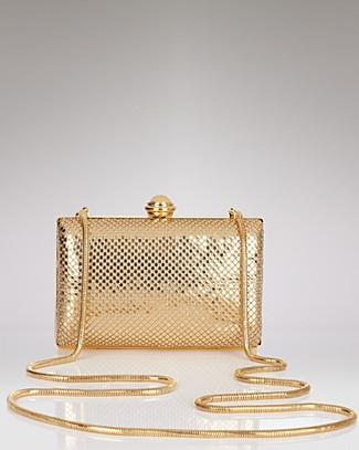 Sondra Roberts Hard Body Mesh Clutch In Gold/gold