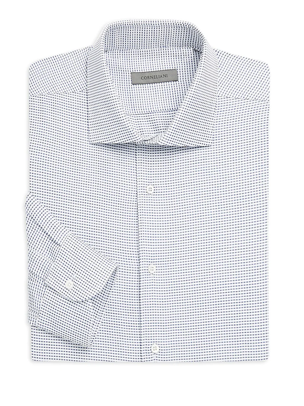 Corneliani Men's Dotted Regular Fit Dress Shirt In Blue White